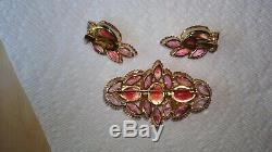 Vintage Estate Pink Juliana Givre dog tooth prong Rhinestone brooch earrings lot