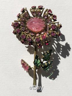 Vintage Estate Signed Schreiner New York Pink Rhinestone Flower Brooch Pin