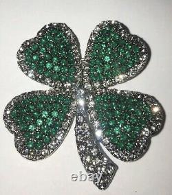 Vintage Estate Signed Weiss Four Leaf Clover / Shamrock Brooch Pin