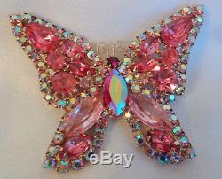Vintage Fantastic Juliana Pink Aurora Borealis Rhinestone Butterfly Pin Brooch