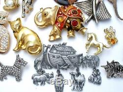 Vintage Figural Brooches Lot 30 Pc Pins Enamel Rhinestone Dog Cat JJ Insect 1928
