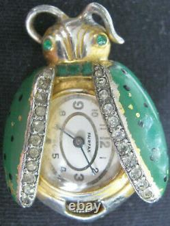 Vintage Figural Watch Pin Ladybug Or Beetle, Green, Polka Dot Wings Brooch