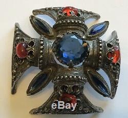 Vintage Florenza Blue & Red Rhinestone Maltese Cross Brooch / Pendant