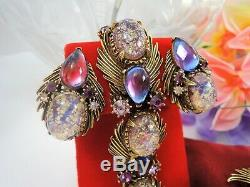 Vintage Florenza Foiled Art Glass & Purple Rhinestone Braceletbroochearrings