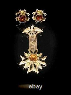 Vintage Florenza Signed Crown Eagle Maltese Cross Rhinestone Brooch And Earrinfs