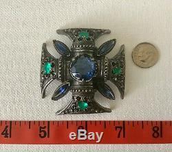 Vintage Florenza Signed Silver Tone Blue & Green Maltese Cross Brooch Pin
