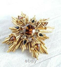 Vintage Florenza Starburst Maltese Brooch, Antiqued Goldtone Topaz Rhinestone