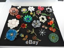 Vintage Flowers Jewelry Lot Brooch Earrings Pin Enamel Metal Bridal Bouquets