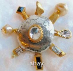 Vintage French DESIGNER ANTIGONIA Paris Brooch Gold/Silver/Pearls/RHINESTONES