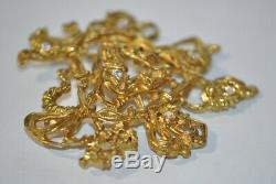 Vintage French Signed Christian Lacroix Paris Gold Heart Brooch Pin Rhinestones