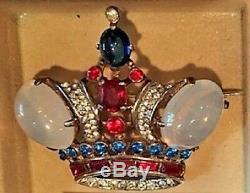 Vintage Genuine Large Sterling Silver Trifari Crown Jelly Belly Pin/Brooch