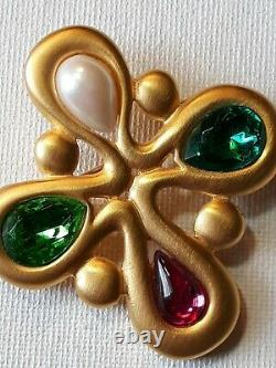 Vintage Givenchy Signed Gold Plate Gripoix Rhinestone Maltese Cross Brooch Pin