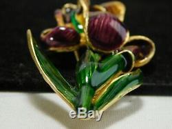 Vintage Gold Museum of Fine Arts Purple Enamel Iris Flower Brooch Pin