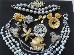 Vintage Gold Turquoise Blue Tone Brooch Earrring Bracelet Mixed Lot Trifari #18