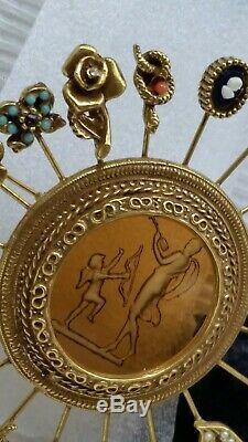 Vintage Goldette Reverse Carve Intaglio Cupid Venus 20 Hat Stick Pins Brooch Pin