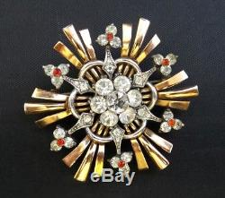 Vintage Gorgeous Pennino Art Deco Sterling w Gold Wash Flower Pin Brooch