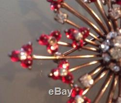 Vintage Gorgeous Pennino Sterling Gold Red Flower Rhinestone Pendant Pin Brooch