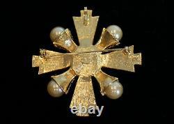 Vintage Graziano Maltese Cross Pearls & Rhinestones Gold Pendant / Brooch