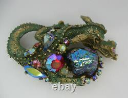 Vintage HAR Signed Dragon Brooch Pin Lava Stone Green Enamel AB Rhinestone