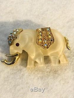Vintage HATTIE CARNEGIE AB Rhinestone Clear Lucite ELEPHANT Pin Brooch RARE