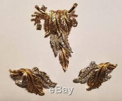 Vintage HATTIE CARNEGIE BROOCH PIN & EARRINGS Dangling LEAVES Branch Rhinestones