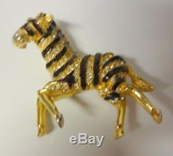 Vintage HATTIE CARNEGIE Enamel & Rhinestone Zebra Brooch Pin