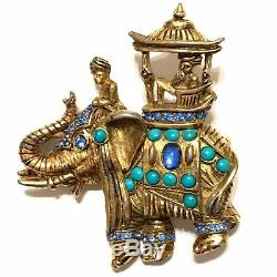 Vintage HATTIE CARNEGIE Turquoise & Rhinestone ELEPHANT Pin Brooch RARE