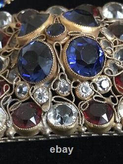 Vintage HOBE Red White And Blue Rhinestone Filigree Brooch & Earring Set