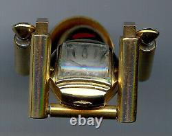 Vintage Harman Clock Belly Movable Man Rhinestone Watch Pin Brooch