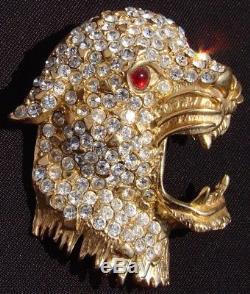 Vintage Hattie Carnegie Brooch Rhinestone & Gold Toned Leopard Head