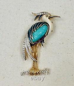 Vintage Hattie Carnegie Lucite, Rhinestone & Enamel Heron Crane Egret Brooch