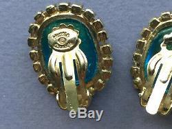 Vintage Hattie Carnegie Poured Glass Rhinestone Earrings & Brooch