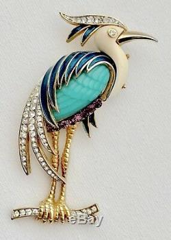 Vintage Hattie Carnegie Rhinestone And Lucite Figural Heron / Egret Bird Brooch