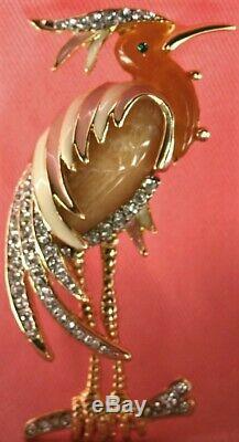 Vintage Hattie Carnegie Rhinestone Enamel Heron Figural Brooch Unsigned