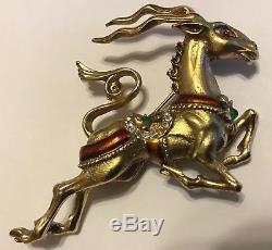 Vintage Hattie Carnegie Signed Rhinestone & Enamel Reindeer Figural Brooch