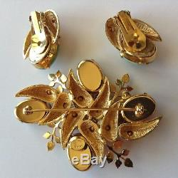 Vintage Hattie Carnegie Signed Rhinestone & Pearl Brooch And Earrings