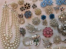 Vintage High End 67 PC Blue Silver Tone Rhinestone Necklace Bracelet Brooch Lot