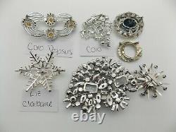 Vintage High End RHINESTONE Jewelry Lot SIGNED Brooches CORO PEGASUS Moonstone