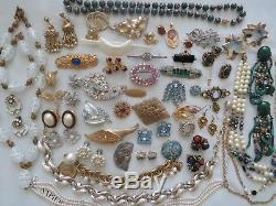 Vintage High End Rhinestone Crystal Cabochon Necklace Earrings Brooch Lot