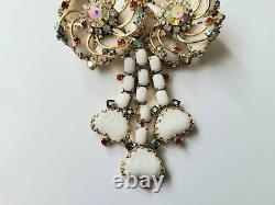 Vintage Hobe 1957 Costume Jewelry Rhinestone Brooch Pendant Mayorka Floral Bow