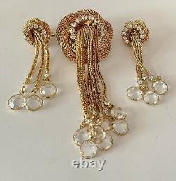 Vintage Hobe Mesh Gold Knot Crystal Rhinestone Tassel Brooch Earrings Unsigned