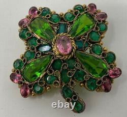 Vintage Hobe Open Back Glass Green Pink Rhinestone Clover Flower Brooch Pin