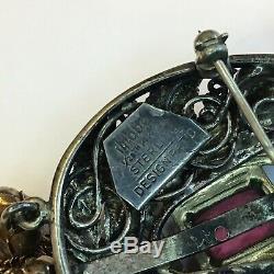 Vintage Hobe Signed 14k On Sterling Silver Pink Rhinestone Brooch