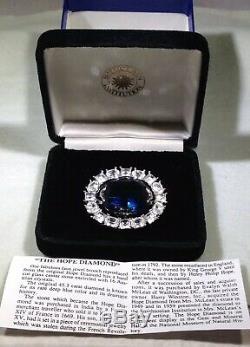 Vintage Hope Diamond Replica Pin Brooch Smithsonian Institution in Velvet Box