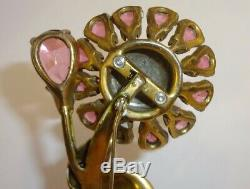 Vintage Huge FRED A. BLOCK Jewelers Enamel & Rhinestone Flower Brooch Pin