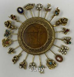 Vintage Huge Goldette Intaglio Reverse Carved Cupid Venus Stick Pins Brooch Pin