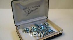 Vintage Huge Signed Sherman 3.25 Blue Rhinestone Brooch Earrings Original Box