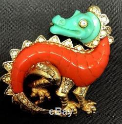 Vintage Iconic Hattie Carnegie Figural Dragon Carved Lucite Brooch Rhinestones