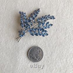 Vintage JEWELCREST Donald SIMPSON Crystal RHINESTONE Blue FERN Spray BROOCH