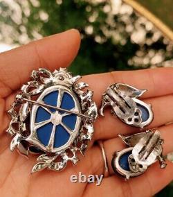 Vintage JOMAZ Blue Glass Moonstone Rhinestone Pin Brooch & Earrings
